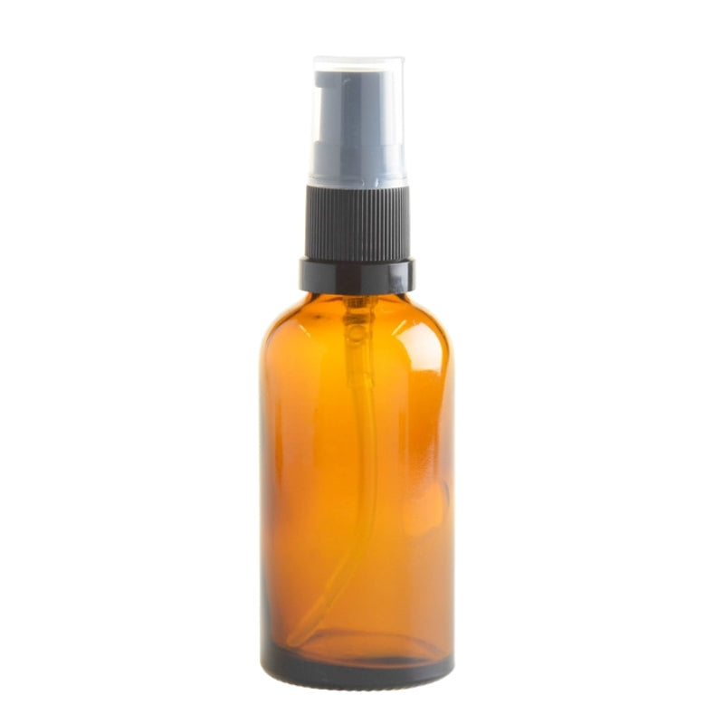 50ml Amber Glass Aromatherapy Bottle with Serum Pump - Black (18/410) - Essentially Natural