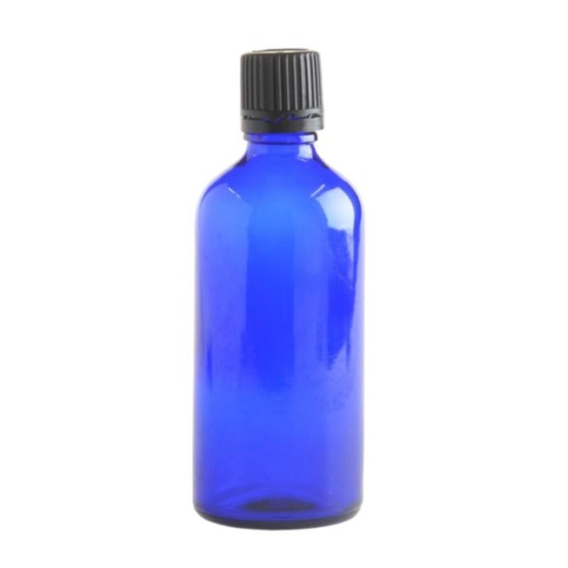 100ml Blue Glass Aromatherapy Bottle with Dropper Cap - Black - Essentially Natural