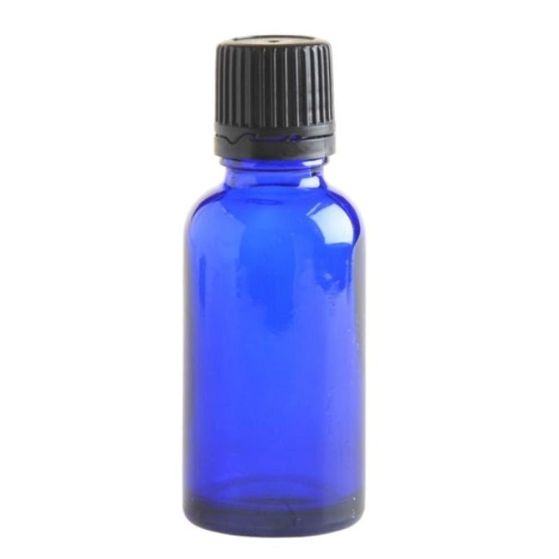 30ml Blue Glass Aromatherapy Bottle with Dropper Cap - Black - Essentially Natural