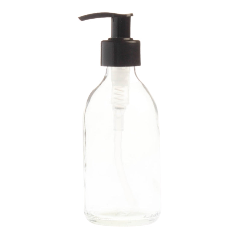 200ml Clear Glass Generic Bottle with Pump Dispenser - Black (28/410)