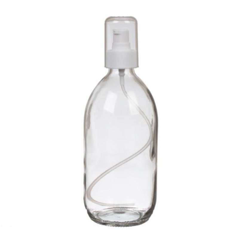 200ml Clear Glass Generic Bottle with Serum Pump - White (28/410) - Essentially Natural