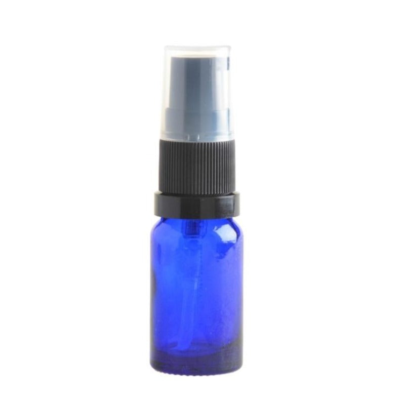 10ml Blue Glass Aromatherapy Bottle with Serum Pump - Black (18/410) - Essentially Natural