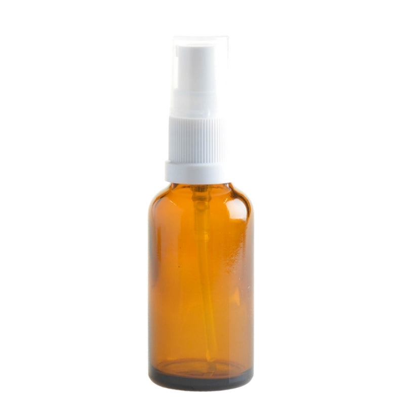 30ml Amber Glass Aromatherapy Bottle with Serum Pump - White (18/410) - Essentially Natural