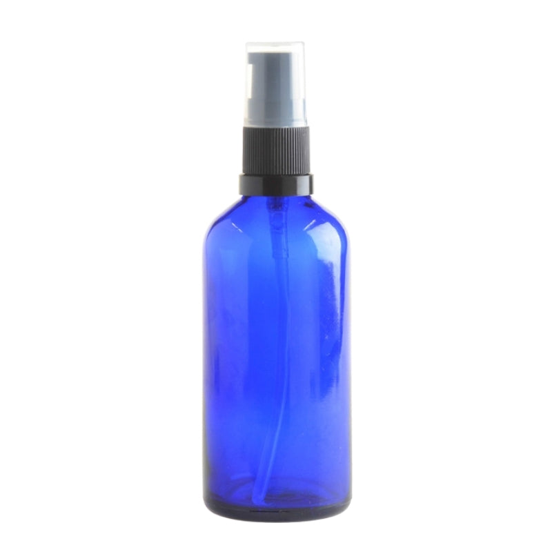 100ml Blue Glass Aromatherapy Bottle with Serum Pump - Black (18/410) - Essentially Natural