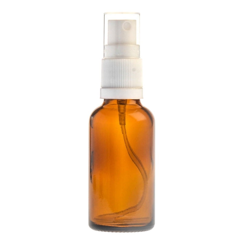 30ml Amber Glass Aromatherapy Bottle with Spritzer - White (18/410)