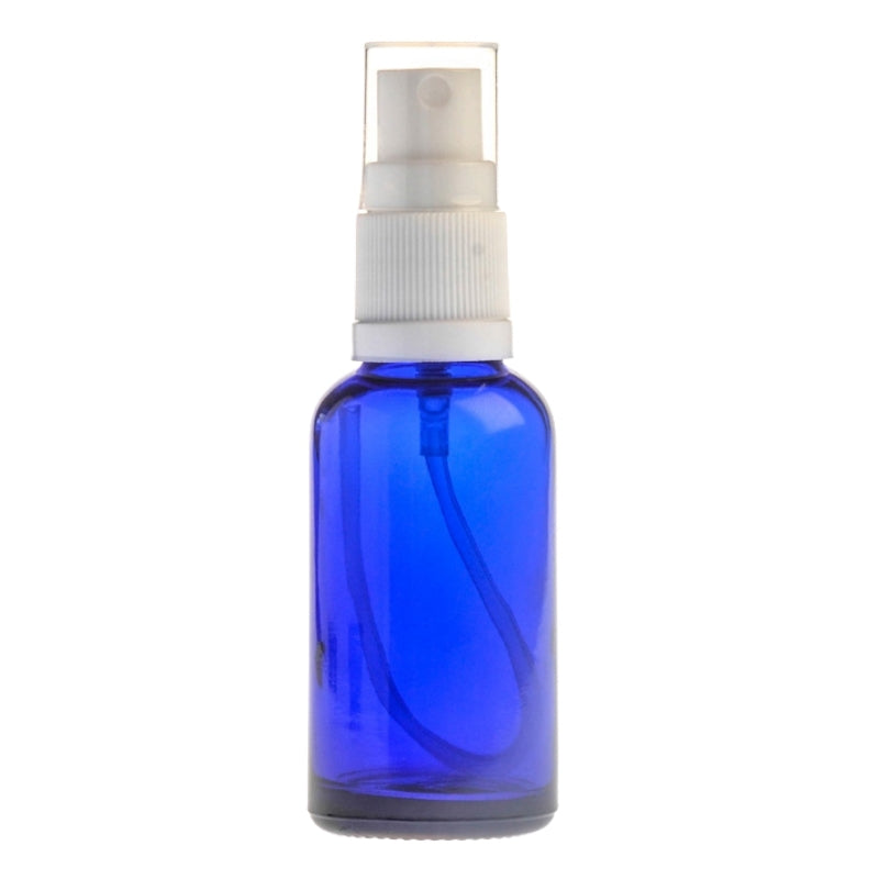 30ml Blue Glass Aromatherapy Bottle with Spritzer - White (18/410)