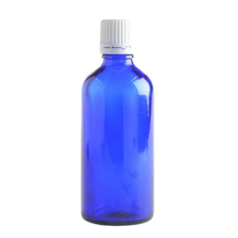 100ml Blue Glass Aromatherapy Bottle with Dropper Cap - White - Essentially Natural
