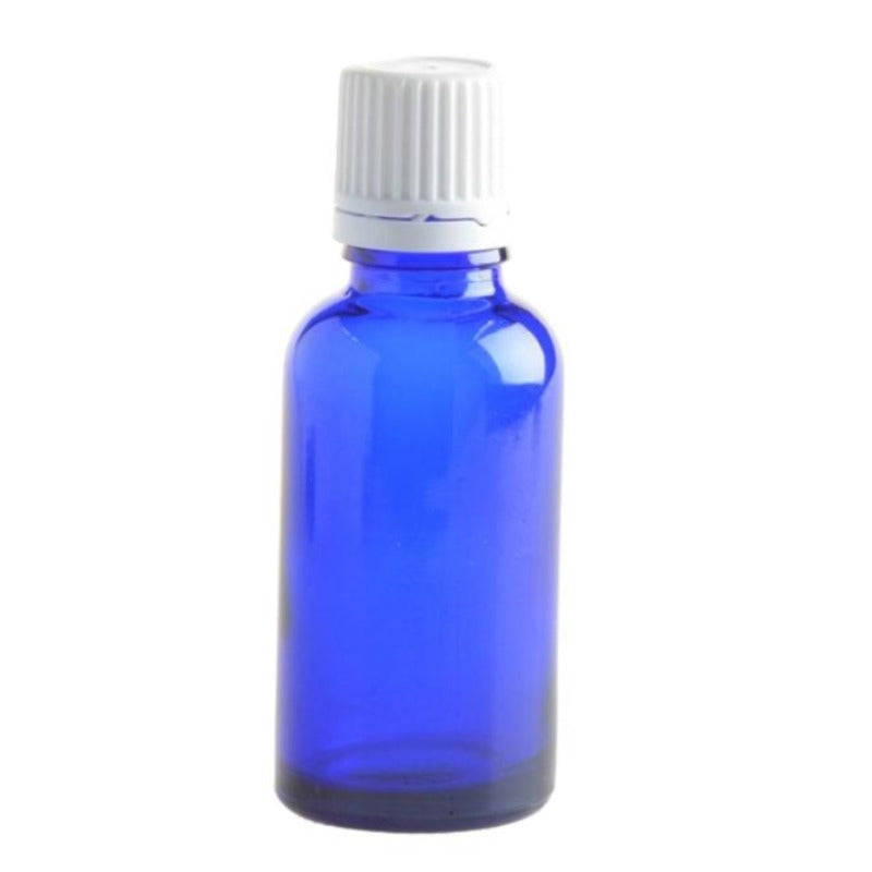 30ml Blue Glass Aromatherapy Bottle with Dropper Cap - White - Essentially Natural