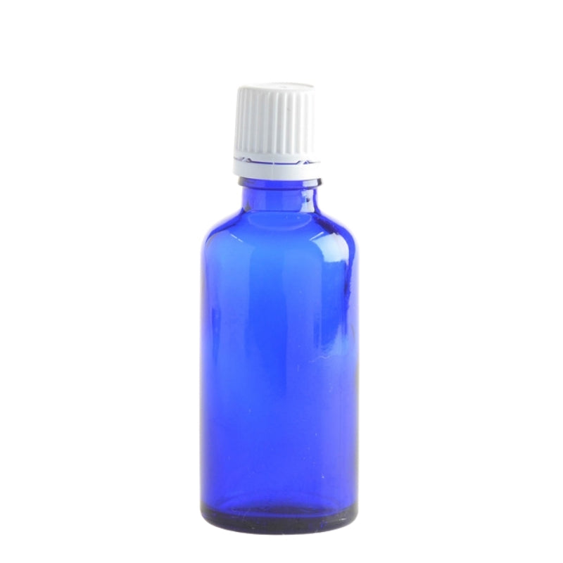 50ml Blue Glass Aromatherapy Bottle with Dropper Cap - White - Essentially Natural