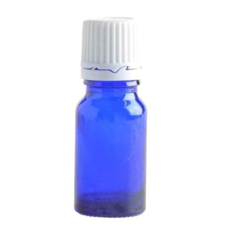 10ml Blue Glass Aromatherapy Bottle with Dropper Cap - White - Essentially Natural