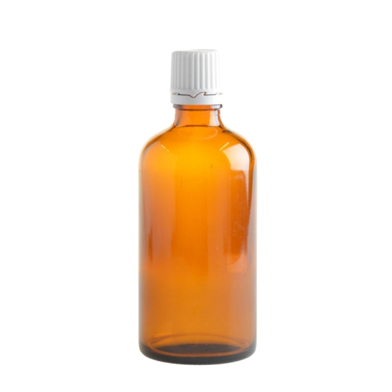 100ml Amber Glass Aromatherapy Bottle with Dropper Cap - White - Essentially Natural