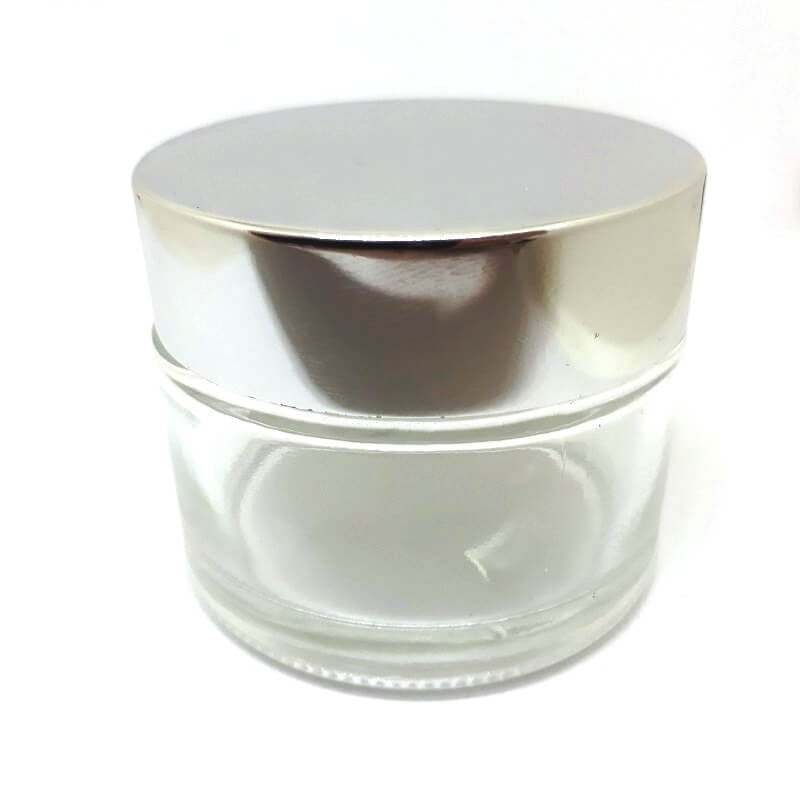 50ml Clear Glass Jar with Silver Lid