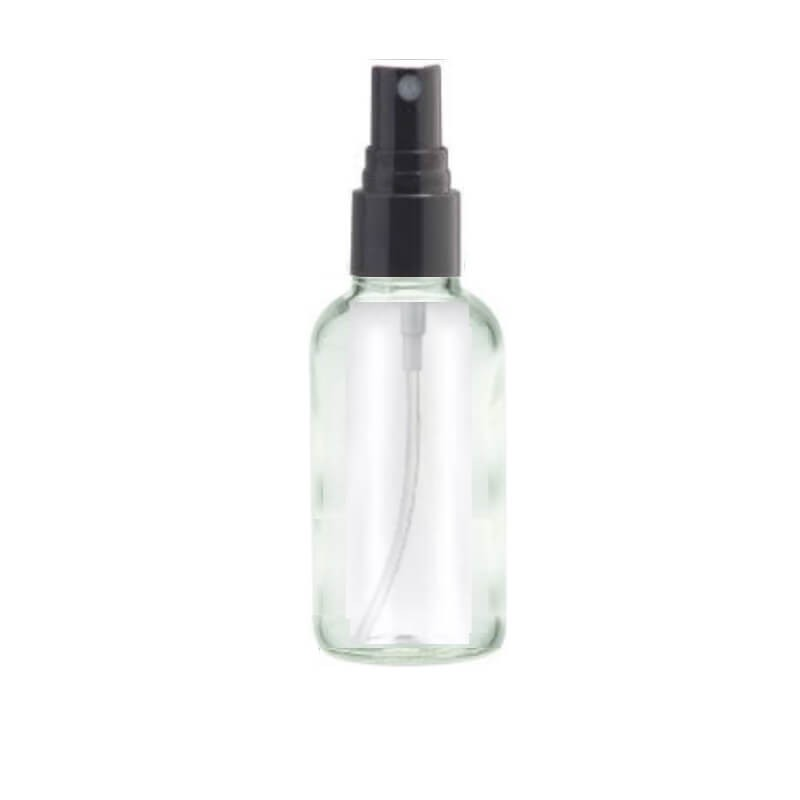 30ml Spritzer Clear Glass Aromatherapy Bottle (Black Top)