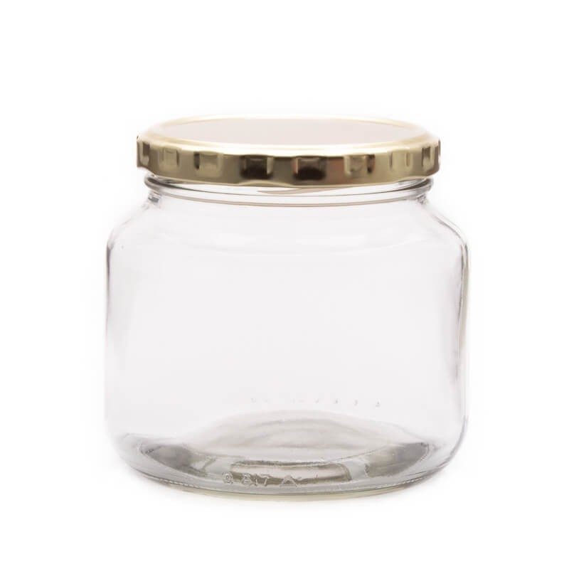 500ml Clear Glass Jar with Gold Screw Lid