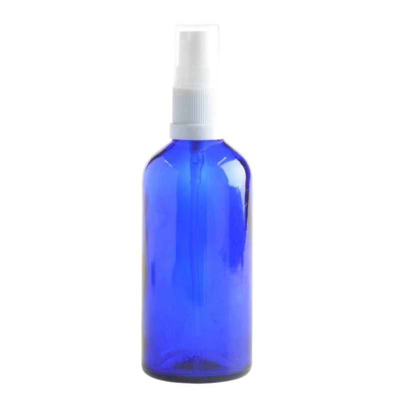 100ml Blue Glass Aromatherapy Bottle with Serum Pump - White (18/410) - Essentially Natural