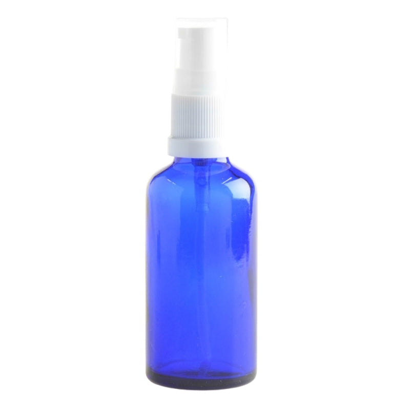 50ml Blue Glass Aromatherapy Bottle with Serum Pump - White (18/410) - Essentially Natural