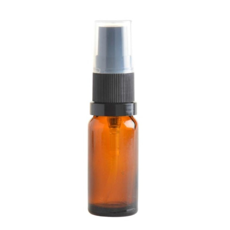 10ml Amber Glass Aromatherapy Bottle with Serum Pump - Black (18/410) - Essentially Natural