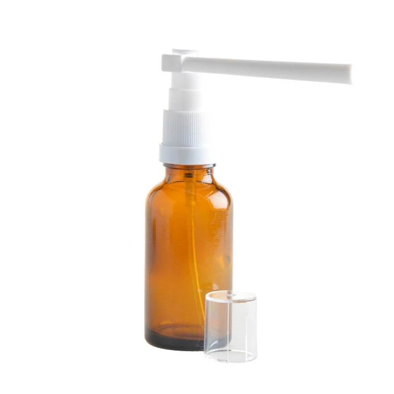 20ml Amber Glass Aromatherapy Bottle with Throat Sprayer (18/65) - Essentially Natural