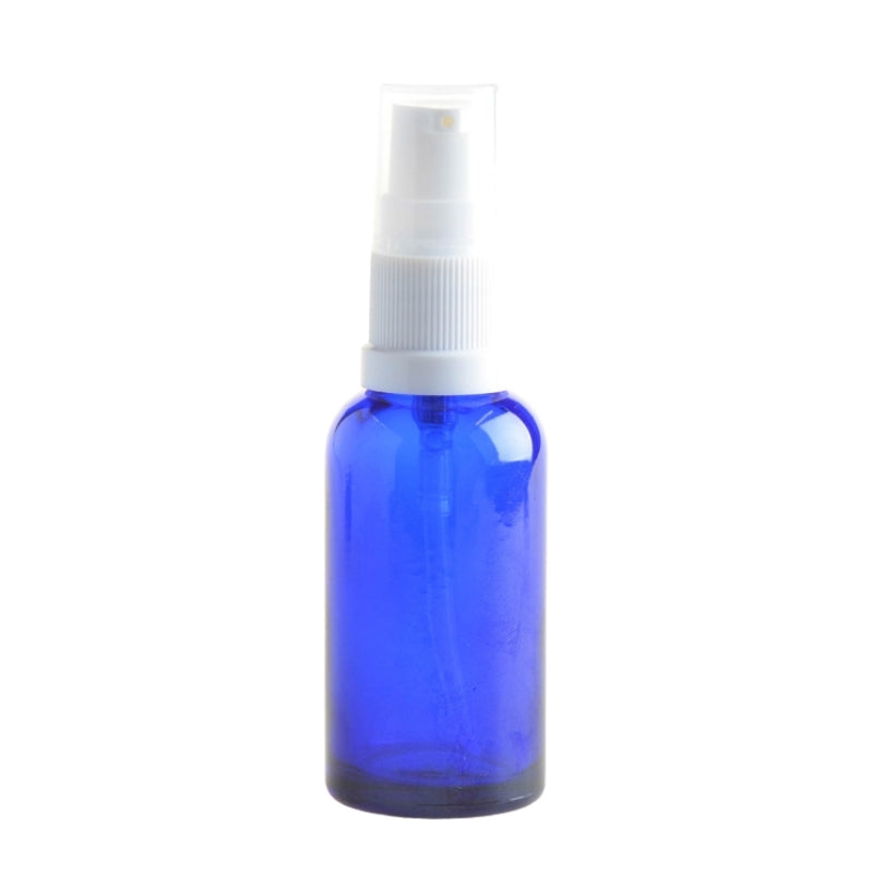 30ml Blue Glass Aromatherapy Bottle with Serum Pump - White (18/410) - Essentially Natural