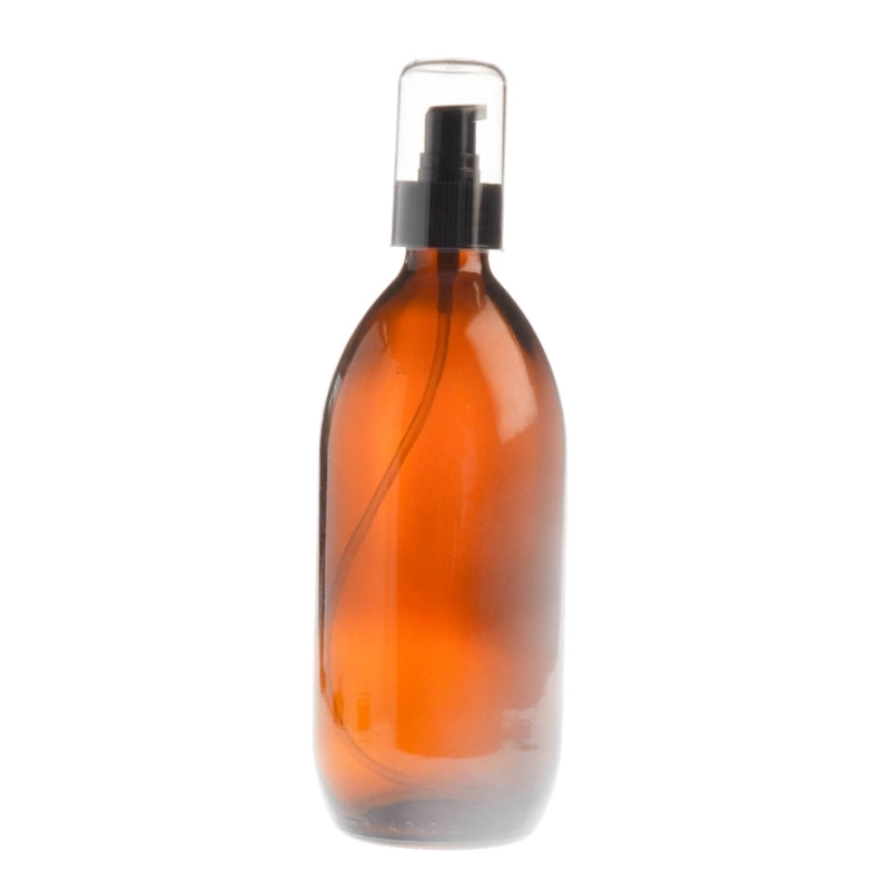 500ml Amber Glass Generic Bottle with Serum Pump - Black (28/410)