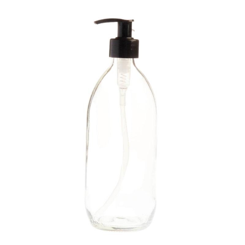 500ml Clear Glass Generic Bottle with Pump Dispenser - Black (28/410)