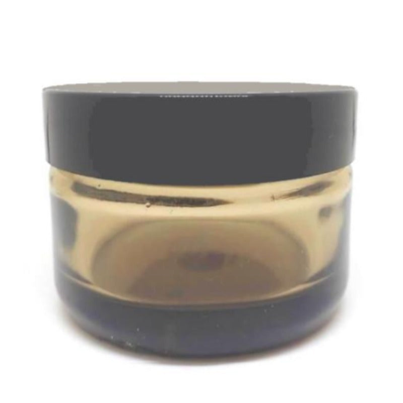 30ml Amber Glass Jar with Black Lid (48/400) - Essentially Natural