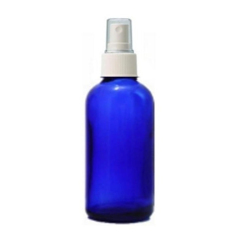 50ml Blue Glass Aromatherapy Bottle with Spritzer - White (18/410) - Essentially Natural
