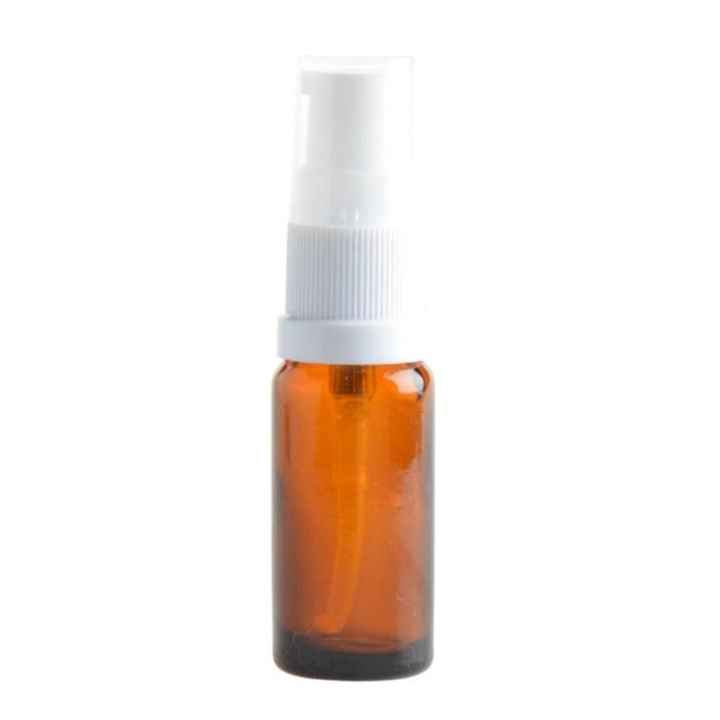 10ml Amber Glass Aromatherapy Bottle with Serum Pump - White (18/410) - Essentially Natural