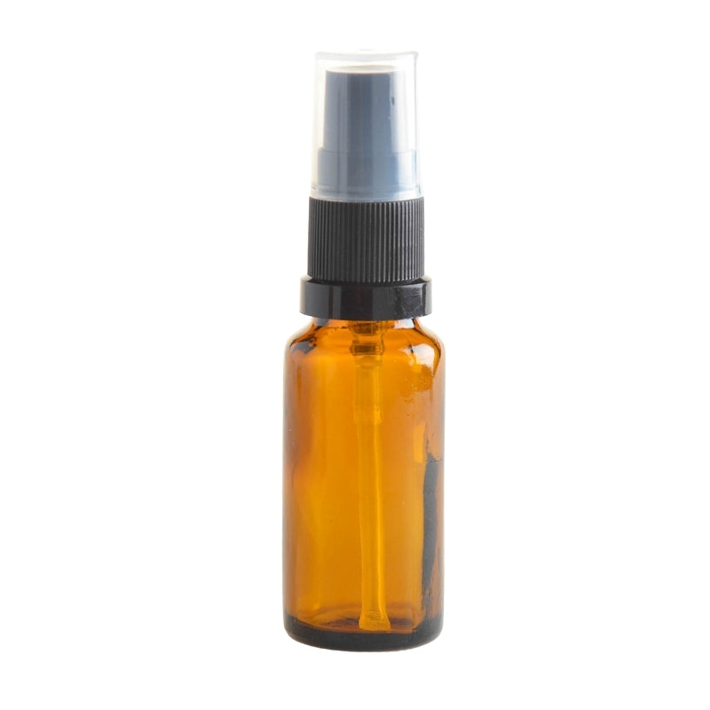 20ml Amber Glass Aromatherapy Bottle with Serum Pump - Black (18/410) - Essentially Natural