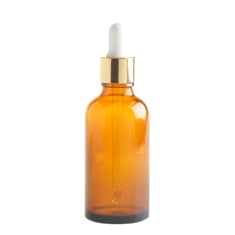 50ml Amber Glass Aromatherapy Bottle with Pipette - White & Gold Collar (18/89) - Essentially Natural