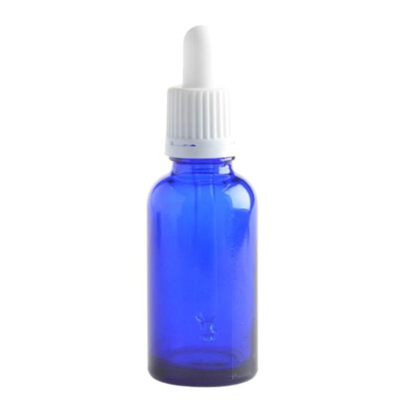 30ml Blue Glass Aromatherapy Bottle with Pipette - White (18/78) - Essentially Natural