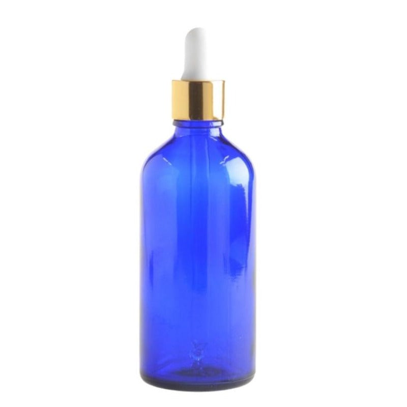 100ml Blue Glass Aromatherapy Bottle with Pipette - White Gold Collar (18/110) - Essentially Natural
