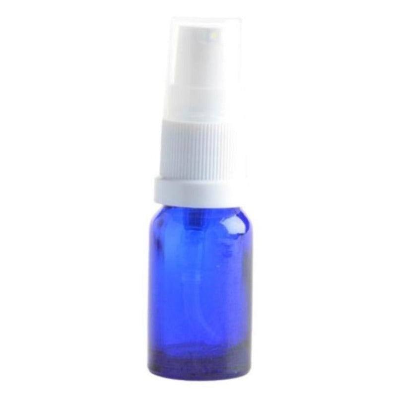 10ml Blue Glass Aromatherapy Bottle with Serum Pump - White (18/410) - Essentially Natural