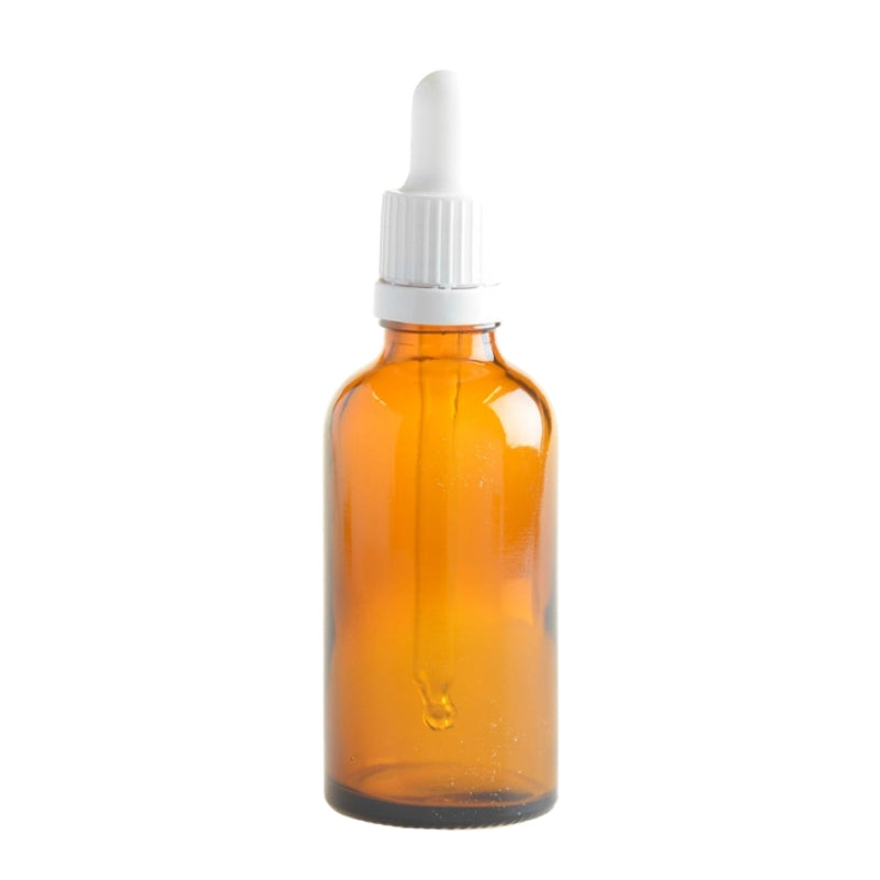 50ml Amber Glass Aromatherapy Bottle with Pipette - White (18/89) - Essentially Natural