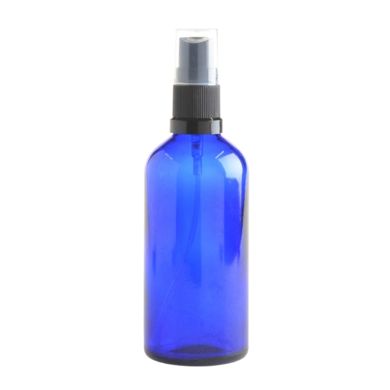 100ml Blue Glass Aromatherapy Bottle with Spritzer - Black (18/410) - Essentially Natural