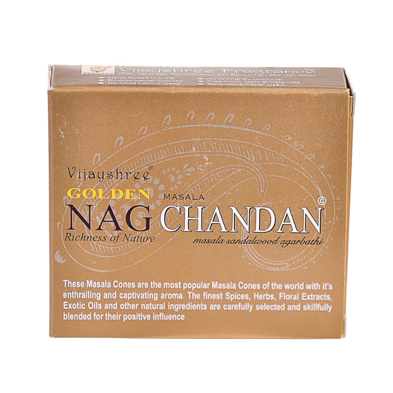 Vijayshree Golden Nag Chandan Masala Sandalwood Incense Cones