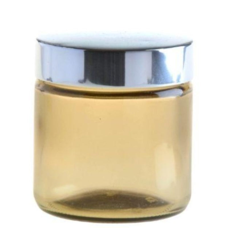 100ml Amberised Glass Jar with Silver Lid (58/400) - Essentially Natural