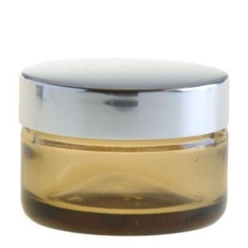 50ml Amberised Glass Jar with Silver Lid