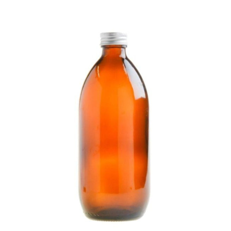 500ml Amber Glass Generic Bottle with Aluminium Screw Cap - Silver (28/410) - Essentially Natural