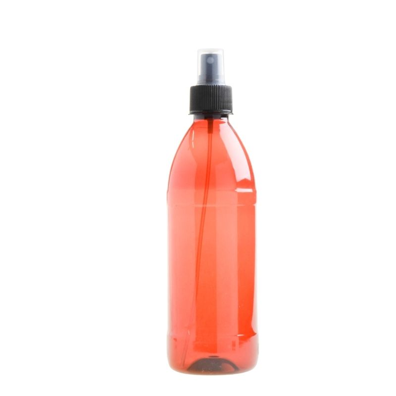 500ml Amber PET Plastic Bottle with Atomiser Spray - Black (28/410) - Essentially Natural