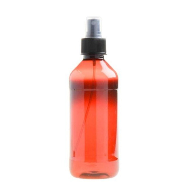 350ml Amber PET Plastic Bottle with Atomiser Spray - Black (28/410) - Essentially Natural
