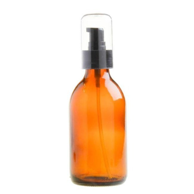 200ml Amber Glass Generic Bottle with Serum Pump - Black (28/410) - Essentially Natural