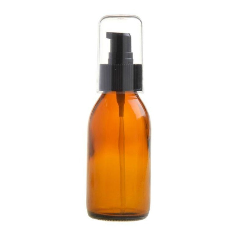 100ml Amber Glass Generic Bottle with Serum Pump - Black (28/410) - Essentially Natural