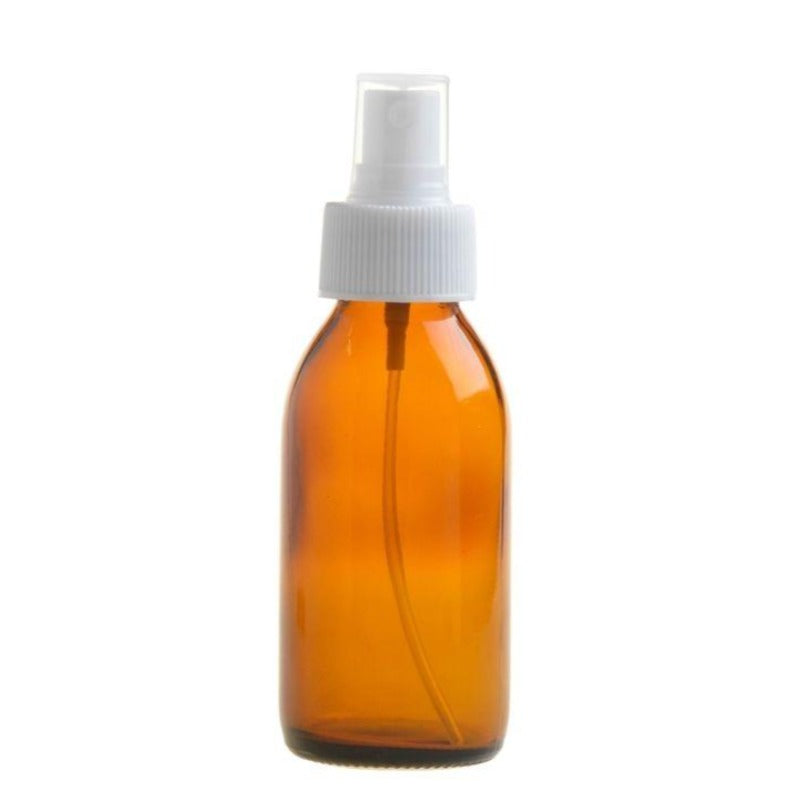 100ml Amber Glass Generic Bottle with Atomiser Spray - White (28/410) - Essentially Natural
