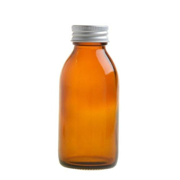 100ml Amber Glass Generic Bottle with Aluminium Screw Cap - Silver (28/410) - Essentially Natural