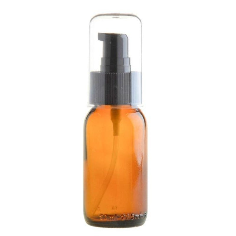 50ml Amber Glass Generic Bottle with Serum Pump - Black (28/410) - Essentially Natural