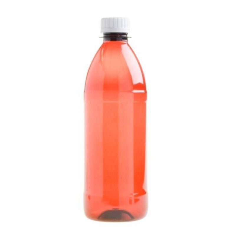 500ml Amber PET Plastic Bottle with Screw Cap - White (28/410) - Essentially Natural