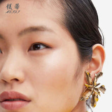 Load image into Gallery viewer, NIRUMON Flower Design Golden Fashion Earrings - NIRUMON