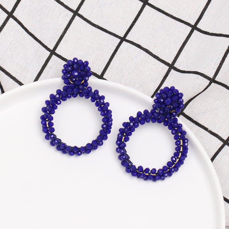 NIRUMON Geometric Design Beaded Fashion Earrings - Blue - NIRUMON