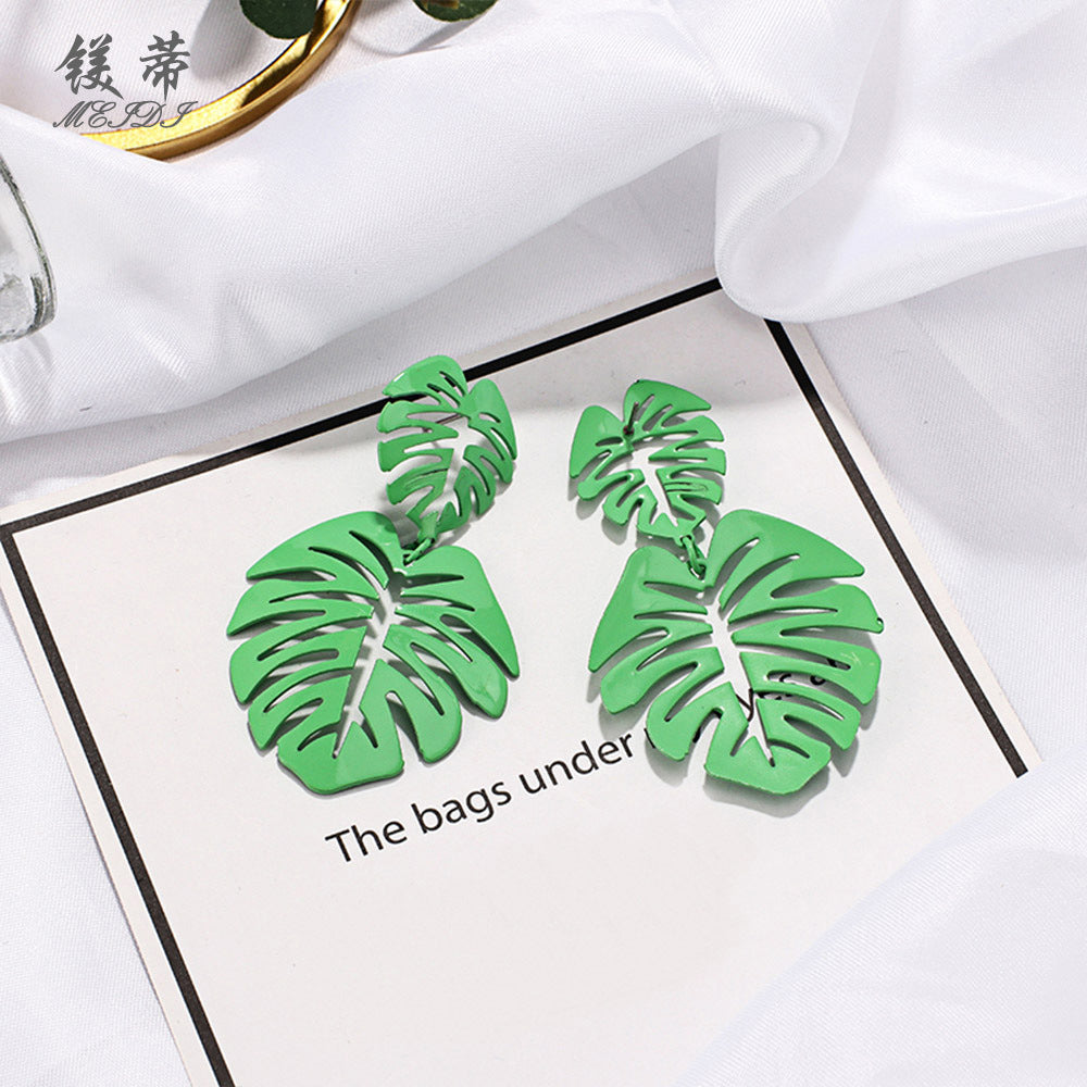 NIRUMON Leaf Design Stud & Danglers Fashion Earrings - Green - NIRUMON